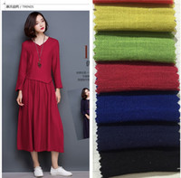 bamboo fabric retail - New summer cotton linen bamboo fabric for women s T shirt blouse dress in stock retail hot popular fashion colors