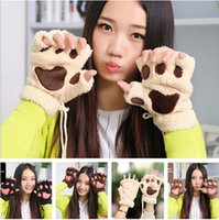 Wholesale Hot Winter Women Cute Half finger Kawaii Paw Gloves Fingerless Fluffy Bear Cat Plush Paw Glove Mittens