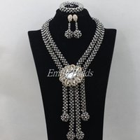 Wholesale 2016 New Wedding African Jewelry Sets Silver Austrian Nigerian Crystal Beads Necklace Clip Earrings Sets AMJ905