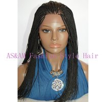 Cheap braid lace front wig Top quality braided wig synthetic lace front wig for black women micro braided wigs