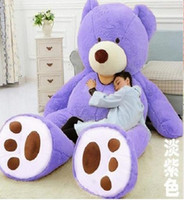 Wholesale American Teddy plush Bear Skin factory price light Dark brown Purple cm cm cm cm cm cm bear Round Smile Squint eye