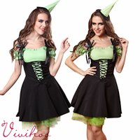 anime maid uniform - Adult Halloween Sweet French Maid Costumes Women Green Lace up Anime Character Dresses Sexy Little Witches Cosplay Party Holiday Dresses