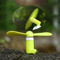 achat en gros de portable à portée de main-Fan Dock Téléphone Mini USB pour iPhone Mobile MINI Cooler Rotary Handy Fan Grand pour iPhone 6s i6s Expédition plus Android Summer DHL gratuit