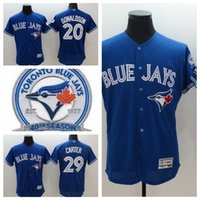 Wholesale Blue jays Majestic Josh Donaldson Baseball Jerseys Stitched th Toronto Blue Jays White Black Red Blue Color