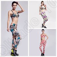 Wholesale LJJJ125 NEW Women Tight Fitness Running Clothes Summer Sports Suits Printed Gym Yoga Outfit Vest bra Pants Set SET