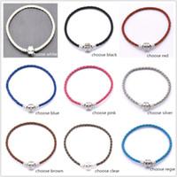 Wholesale new mixed Colors EP Bracelets New Single silver Leather Bracelets Chains cm cm cm cm Fit European Charm Beads