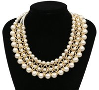 Wholesale 2016 New Fashion Lady Collar Pearl Necklaces Trendy Choker Statement Necklace Bride Jewelry