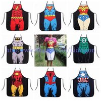 Wholesale Fedex DHL Free superhero apron superman batman Kitchen aprons spiderman flash hulk apron Funny Cooking Cartoon Aprons party gifts L72