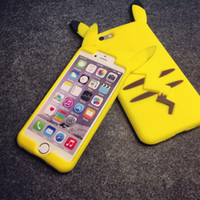 Wholesale Cartoon Casing Galaxy Grand - 3D Poke Pikachu Soft Silicone Case For Iphone 6 6S Plus I6S 5 5S Samsung Galaxy J1 J3 J5 J7 2016 Grand Prime Duos Cartoon Rubber Phone Cover