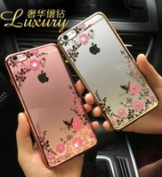 Wholesale Luxury Garden Wholesale - iPhone7 7Plus Luxury Secret Garden Bling Diamond Flowers Electroplating Soft TPU Case For iPhone 5 5S SE 6 6S 7 Plus