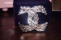 Cheap Luxury Brand Designer Women Vintage silver diamonds letter pendant flower Rose brooches pins for lady wedding
