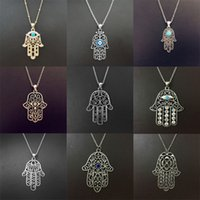 Wholesale 9 Styles Vintage Fatima Hand Pendant Necklace Mascot Hamsa Necklaces Pendant With Retro Pattern For Women s Men s Jewelry Accessories RW725