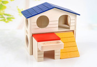 Wholesale YIYUAN Hamster Bunk House Small House Pets Hamster Toys Wooden Two Layer Villa Bed House