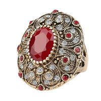 big ruby rings - Fashion Vintage Jewelry Rings Unique plated Ancient Gold Mosaic AAA Crystal Big Oval Ruby Ring For Women New Anillo