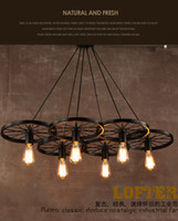 Wholesale Vintage Wheel Ceiling Pendant Lights Modern Light Fixtures LED Lamps Home Lighting Metal Industrial Edison E27 Holder Heads Lamp