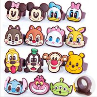 PVC Rings Free kids Finger Ring PVC Mix Mickey Goofy Bunny Daisy Multi Shape Finger Rings Kids Cartoon childrens jewelry Kids Christmas Gifts