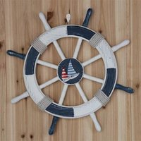 Wholesale Mediterranean style decoration bar wall hanging marine ship rudder large wooden helm mural CM