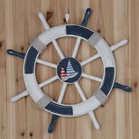 bars wooden - Mediterranean style decoration bar wall hanging marine ship rudder large wooden helm mural CM