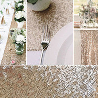 Wholesale 275x30cm BlingBling Glitter Sequin Beaded Metallic Rectangular Table Runner for European Wedding Party Banquet Tableware Decoration