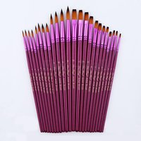artist oil paint brushes - New Set Flat Tip Painting Brushes Set Artist Nylon Hair Watercolor Oil Drawing Pen Hot Sale