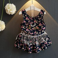 kids fashion - New Arrival Cute Kids Girls Floral Tassel Outfits Tops and Shorts Sets Fashion Kids Girls Summer Clothing