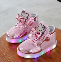 Wholesale Girls Shoes Baby Fashion Hook Loop LED Shoes Kids Light Up Glowing Sneakers Little Girls Princess Children Shoes With Light