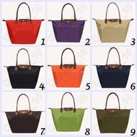 bag companies - 100pcs CCA4046 High Quality New Foldable Tote Company Gifts Fashion Hobos Shopping Bag Joker Solid Shoulder Bags Casual Nylon Women Handbag