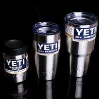 Wholesale 2016 Hot Stainless Steel oz Yeti Cups Cooler YETI Rambler Tumbler Cup Vehicle Beer Mug Double Wall Bilayer Vacuum Insulated ml