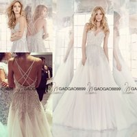 beadwork pictures - Hayley Paige Sparkly Crystal Beadwork Beach Wedding Dresses V neck Full length Elegant Plus Size Arabic Bridal Wedding Gown