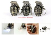 artificial torch - New Creative Mini LED Light Flashlight Torch Gadget Laser Pointer Pen Metal Bullet Key Chain Artificial Grenade Pistol Gun Keychain