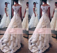 A-Line Model Pictures 2016 Spring Summer 2016 New Off The Shoulder A Line Wedding Dresses Sexy Sheer Sleeves Appliqued Full Lace Backless Draped Glitz Custom Made Bridal Gown BA1751