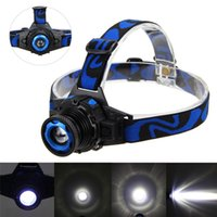 Wholesale Cree Q5 Modes Lumens LED Rechargeable Focus Headlight Headlamp Zoomable Head Lamp Spotlight Lantern For Hunting US EU Charger