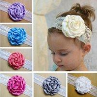 baby headdress - 2016 Newborn baby headband Children headdress flower satin ribbon lace satin rosebuds headbands girl hair accessories