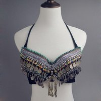 Cheap 2016 New Tribal Belly Dance Clothes Coin Antique Silver Bra Metallic Chain Tassels Push Up C D CUP Vintage Coins Top Gypsy
