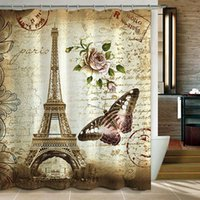 Wholesale Home Decoration X Inch Retro Vintage Paris Eiffel Tower Waterproof Kids Bathroom Shower Curtain Butterfly and Flower Pale Brown Poly