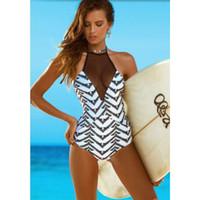 beachwear designer - 2016 Designer Tankini Geometric One Piece Swimwear Bathing Suits Black Mesh Panel Bikini Beachwear Monokini YSTF0508