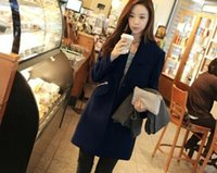 Wholesale XL XL Plus Sizes Winter New Fashion Thick Warm Long Wool Coats Casual Outerwear One Button Long Sleeve with Pockets Slim Blends Cardigan