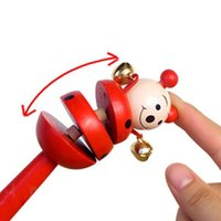 Wholesale Baby Kids Children s Educational Toys Cartoon Wooden Rattle Children Toys A00007 SPDH