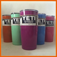 Wholesale HOT YETI CUPS OZ RAMBLER COOLERS TUMBLER TRAVEL BILAYER VACCUM INSULATED BEER MUG CUP WITH COLORS