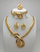 beads necklace design - Bridal Gift Nigerian Wedding African Beads Jewelry Set Fashion Dubai K Gold Plated Jewelry Set Costume Design Big Necklace