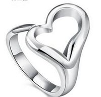adorned hearts ring - European and American Fashion Temperament Ring Adorn Article Fashion Open Heart Ring