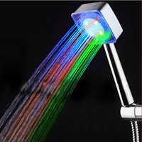 Wholesale 2016 New Two Type Colors LED Water Shower Head and Temperature Sensor Bathroom shower head color box package
