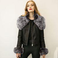 Precio de Leather jackets-Estilo Europeo invierno de las mujeres chaqueta de cuero de gran collar de la piel de la cremallera del motorista de las chaquetas de Calle abrigo corto de calentamiento Outwear S-3XL CJF0913