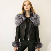 Wholesale European Style Women Winter Leather Jacket Coat Big Fur Collar Zipper Biker Jackets Streetwear Short Overcoat Warm Outwear S XL CJF0913