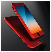 Wholesale Iphone Case Ultra thin Hybrid Degree Full Body Phone Case Cover with Tempered Glass Screen Protector for iPhone Plus SE S Samsung