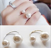 Wholesale Korean Elegant Women Gold Plated Ring Cute Girls Simulated Pearls Opening Adjustable Rings Lovely Fashion Jewelry J03