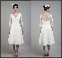 Cheap Iullsion 3 4 Long Sleeve Luxury Wedding Dresses 2016 Deep V-neckline Zipper Tea-Length White Lace Corset Vintage Tea Length White Dresses