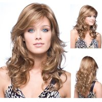 Wholesale Handsome nice looking long curly machine made synthetic hair wigs with hair net for women on sale