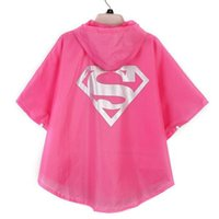 Wholesale 2016 Superman Spiderman Kids Rain Coat Colors Superheros Batman Cosplay Rain Slicker Kids Halloween Waterproof Cape