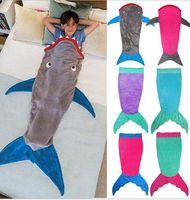 Wholesale Kids Mermaid Sleeping Bag Shark Sleep sacks Mermaid Blankets Mermaid Wrap Snuggle in Sleeping Bag Cocoon Costume KKA368